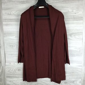 Sejour Maroon Open Front Side Slit Cardigan
